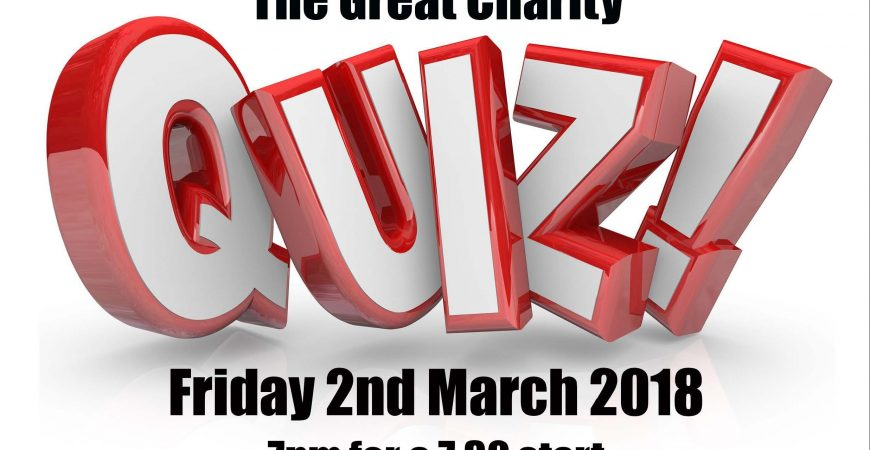 The Great Charity Quiz, Friday 2 March, 7pm